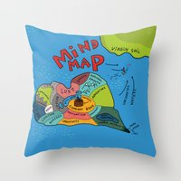 uncharted Throw Pillows featuring Uncharted Waters by miumau