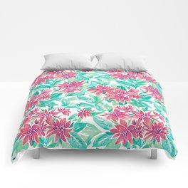 Ixora Hybrid Crimson Star Watercolor Pattern Comforters