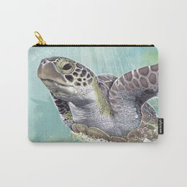 Green Sea Turtle Rides The Waves Carry-All Pouch