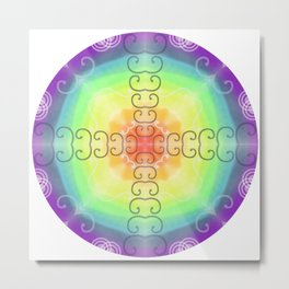 Rainbow Energy Mandala Metal Print