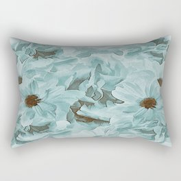 Soft Slate Blue Floral Abstract Rectangular Pillow