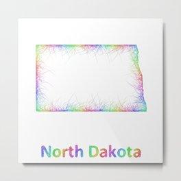 Rainbow North Dakota map Metal Print