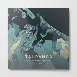 Tauranga, New Zealand - Cream Blue Metal Print