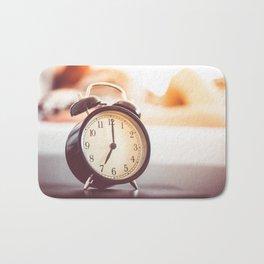 Vintage Alarm Clock and Sleeping Woman Bath Mat