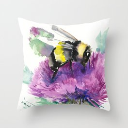 Bumblebee and Thistle Flower, honey bee floral Throw Pillow