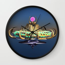 Fractal Alien Spaceship Wall Clock