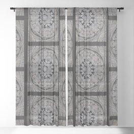 Gothic Romanesque Stone Architecture Mandala Pattern Sheer Curtain