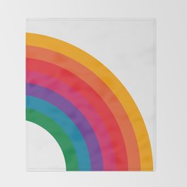 Retro Bright Rainbow - Right Side Throw Blanket