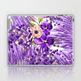 Lilac violet lavender lime green floral illustration Laptop & iPad Skin
