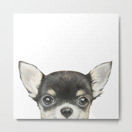 Chihuahua mix color Dog illustration original painting print Metal Print