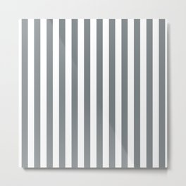 Large Smoke Grey and White Vertical Cabana Tent Stripes Metal Print