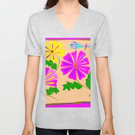 Three Summer Flowers with a Damselfly Unisex V-Neck