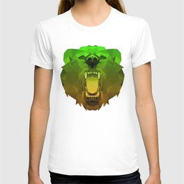 Bear | Green Polygon Triangle Abstract Artwork T-shirt