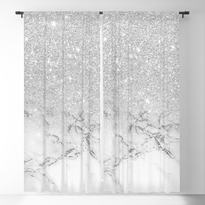 4fc22ef6dd5 Modern faux grey silver glitter ombre white marble Blackout Curtain ...