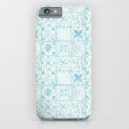 Light Blue Watercolor Painted Tiles  iPhone Case