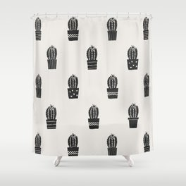 Stamped Potted Cacti Shower Curtain