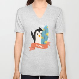 Penguin Surfer from Taipei T-Shirt for all Ages Unisex V-Neck