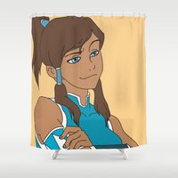 the legend of korra Shower Curtains featuring Korra by Nicky Severein