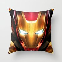 iron man Throw Pillows featuring IRON MAN IRON MAN by Smart Friend