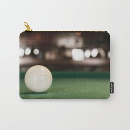 A white pool ball closeup, isolated, on the pool table, bar blurred background. Carry-All Pouch