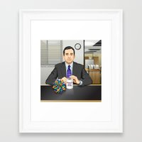michael scott Framed Art Prints featuring Steve Carell as Michael Scott (The Office) by Leo Maia
