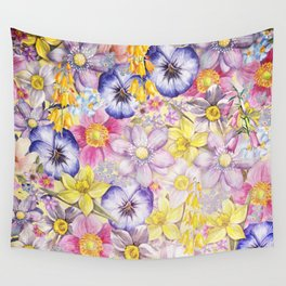 Painterly Vintage Spring Flowers Pattern - Springflower floral Wall Tapestry