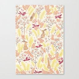 rabbits field Canvas Print