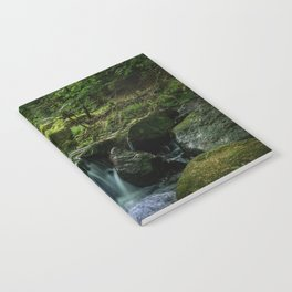 Flowing Creek, Green Mossy Rocks, Forest Nature Photography Notebook