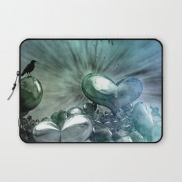Lost Hearts in Blue, Digital Art Laptop Sleeve