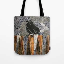 Black Bird on a Gray Day Tote Bag