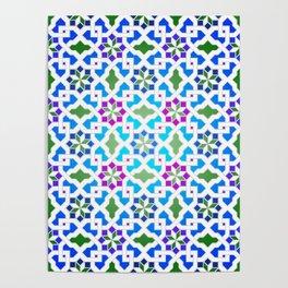 Beautiful oriental flower pattern 7 blue, green Poster
