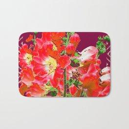 Burgundy  Red Orange Holly Hocks Pattern  Color Floral Art Bath Mat