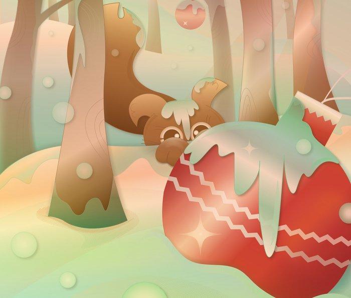 Snow Squirrel and His Christmas Ornaments Metal Travel Mug