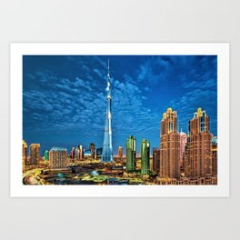 Burj Khalifa Skyscraper Dubai United Arab Emirates (UAE) City Lights Portrait Art Print