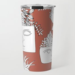 Illustrated Plant Faces in Terracotta Travel Mug