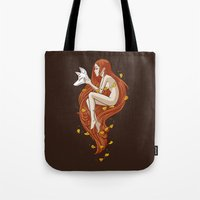 mythology Tote Bags featuring Kitsune by Freeminds
