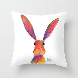 HaRe RaBBiT BuNNY PRiNT 'I'M ALL EaRS' by SHiRLeY MacARTHuR Throw Pillow