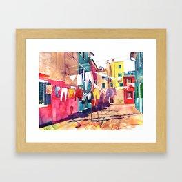 Laundry in Venice Framed Art Print