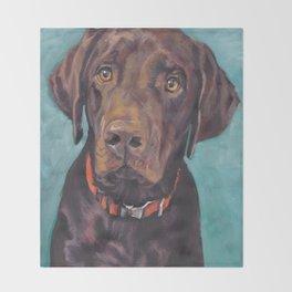 Chocolate lab LABRADOR RETRIEVER dog portrait painting by L.A.Shepard fine art Throw Blanket