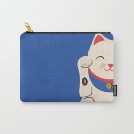 Blue Lucky Cat Carry-All Pouch