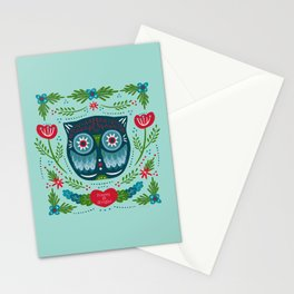 Merry & Bright Owl   Christmas Blue Stationery Cards