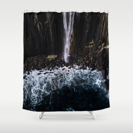 Aerial of Basalt waterfall flowing into the Atlantic ocean on the Isle of Skye - Landscape Photo Shower Curtain