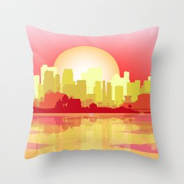 City At The Dusk Throw Pillow