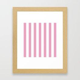 Pink and white stripes Framed Art Print