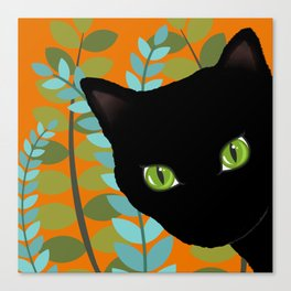 Black Kitty Cat In The Garden Canvas Print