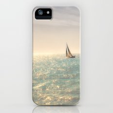 Misty summer day on the sea- a lonely boat iPhone SE Slim Case