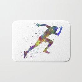 Man running sprinting jogging Bath Mat