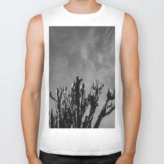 Monochrome Cactus Sky Biker Tank