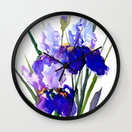 Garden Irises, Blue Purple Floral Design Wall Clock
