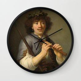 Govert Flinck - Rembrandt as sheperd with staff and flute Wall Clock